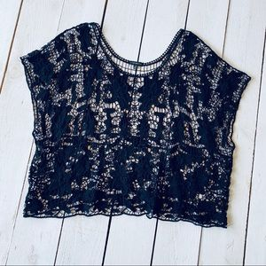 Lane Bryant Black Lace Top